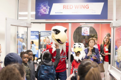 Slapshot, the official mascot for the Washington Capitals, and his mini-mascot buddy.