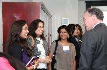 Rhea Somaiya with mom Jolly Vasani, NETE Founder and President (second from left) with Senator Tim Kaine at the 2012 Asian American Women's Roundtable Conference in Vienna, Va.