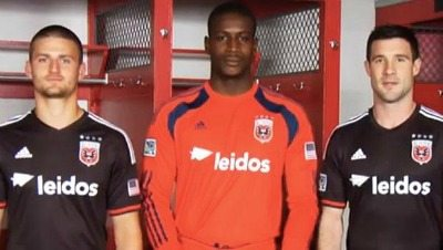 D.C. United players Perry Kitchen, Bill Hamid and Chris Pontius show off the new Leidos jerseys sponsoring D.C. United.