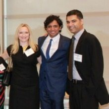 Screenwriter and author M. Night Shyamalan (center), Heidi Narang and RJ Narang