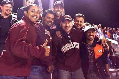 Sanghani with friends at a Virginia Tech football game.