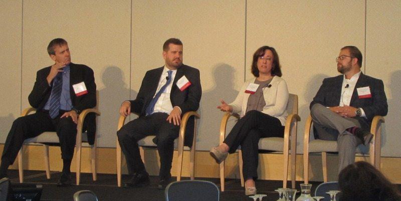 Advanced Mobile Solutions for Citizen Services panelists Erik Augustson (NIH), Alex Kreilein (DHS), Lisa Wolfisch (U.S. Census) and Jacob Parcell (GSA)