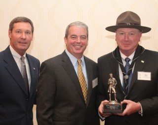 NCAC Scout Executive and CEO Les Baron, event chair Paul Dillahay and honoree Kenneth Asbury