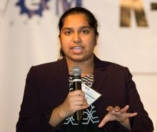 ProjectCSGIRLS founder and TJHSST graduate Pooja Chandrashekar spoke on the 2015 STEM Symposium panel