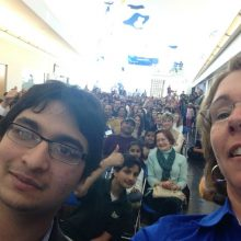 "Archis and Dr. Sandy Magnus, ""selfie"" at the 2014 STEM Symposium"