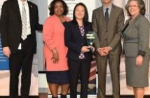 Susie Sylvester, CEO and Sanjeev Duggal, CTO accept Dev Technology's DHS Small Business Achievement Award from Russell Deyo, DHS Under Secretary of Management; Janice Hill, CBP Director, Mission Support Acquisition; and Soraya Correa, DHS Chief Procurement Officer on April 21, 2016
