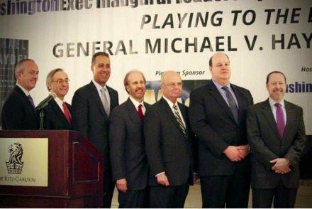 Tim Smith (OnPoint), George Jameson (Jameson Consulting), JD Kathuria (WashingtonExec), Greg Baroni (Attain), General Michael V. Hayden, Sid Fuchs (MacAulay-Brown, Inc.), Dr. John Hillen (GMU)