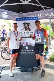 Altamira Technologies' Jonathan Moneymaker (left) and Ted Davies (right) at the Air Force Association's Cycling Classic