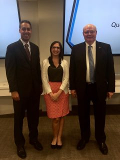 JD Kathuria, Rising Stars of GovCon Chairperson Lisa Shea Mundt (AOC Key Solutions), and Ed Swallow (Vaeros)