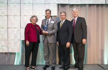 From left: NVTC President and CEO Bobbie Kilberg, Director, Leidos Community Relations and Corporate Responsibility Mike Coogan (accepting on behalf of Roger Krone), Northern Virginia Community College President Dr. Scott Ralls and Inova Center for Personalized Health CEO and NVTC Board Chair Todd Stottlemyer. Image credit: NVTC