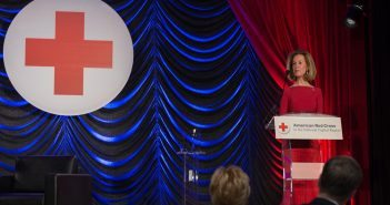 Bonnie McElveen-Hunter, chair of the Board of Governors of the American Red Cross and co-founder of The Tiffany Circle Society of Women Leaders, presented the Lifetime of Service Award during the event to Norman. R. Augustine.