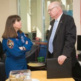 2018 STEM Symposium speakers former NASA astronaut Cady Coleman and Ed Swallow of the Aerospace Corp.