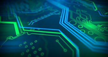 Blue, green background with digital integrated network technology. Printed circuit board. Technology background. 3D illustration.