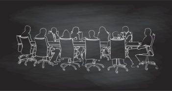 Chalkbaord illustration of a group of business people during a boardroom meeting
