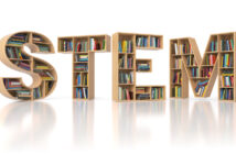 STEM education concept. Bookshelvs with books in the form of text STEM. Science, technology, engineering, mathematics education. 3d illustration (STEM education concept. Bookshelvs with books in the form of text STEM. Science, technology, engineering,