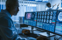 Over the Shoulder Shot of Senior Medical Scientist Working with CT Brain Scan Images on a Personal Computer in Laboratory. Neurologists in Research Center Work on Brain Tumor Cure. (Over the Shoulder Shot of Senior Medical Scientist Working with CT Br