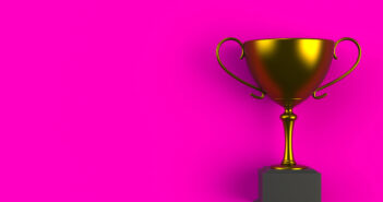 Trophy on pink plank, 3D rendering