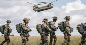 Paratroopers assigned to the 173rd Airborne Brigade perform an airborne proficiency jump over Bunker Drop Zone in Grafenwoehr Training Area, Aug. 14, 2019. Airborne proficiency jumps allow paratroopers to continually experience airborne operations and build upon well-established techniques that refresh their memory and maintain combat readiness. Image: (Spc. Ryan Lucas/Army