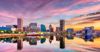 Baltimore, Maryland, USA Skyline on the Inner Harbor at dusk.