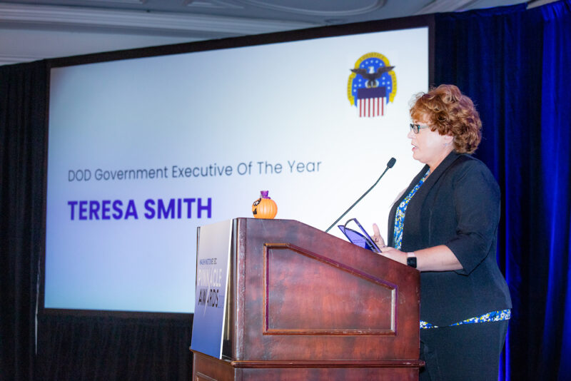 Defense Logistics Agency's Teresa Smith won WashingtonExec's Pinnacle Award for DOD Government Executive of the Year on Oct. 31.