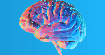 Colorful blue and pink low poly side view human brain illustration with connection dots isolated on bright blue background (Colorful blue and pink low poly side view human brain illustration with connection dots isolated on bright blue background, ASC