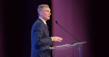 Roger Krone, Chairman and CEO for Leidos makes opening remarks to attendees of the annual Leidos Leadership Summit on January 23, 2018.