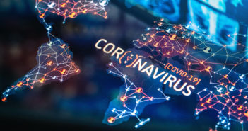 Coronavirus (COVID-19) Outbreak on a World Map on a digital LCD Display Map source: https://www.nasa.gov