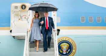 President Donald J. Trump and First Lady Melania Trump disembark Air Force One at the NASA Shuttle Landing Facility Wednesday, May 27, 2020, in Orlando, Fla. (Official White House Photo by Andrea Hanks)