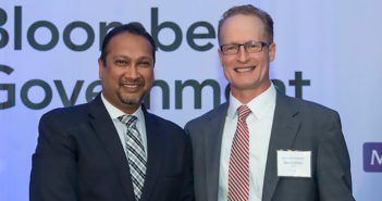 2019 Artificial Intelligence Government Executive of the Year David Shive (right), with SAIC's Sanjay Sardar. Image: WashingtonExec
