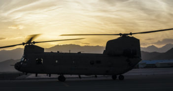 Kabul, Afghanistan - May 07, 2016: U.S. Army Chinook Helicopter Silhouette during a sunrise.
