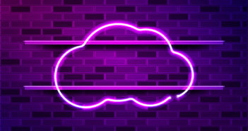 Cloud glowing neon sign or LED strip light. Realistic vector illustration. Purple brick wall, violet glow, metal holders. (Cloud glowing neon sign or LED strip light. Realistic vector illustration. Purple brick wall, violet glow, metal holders., ASCII