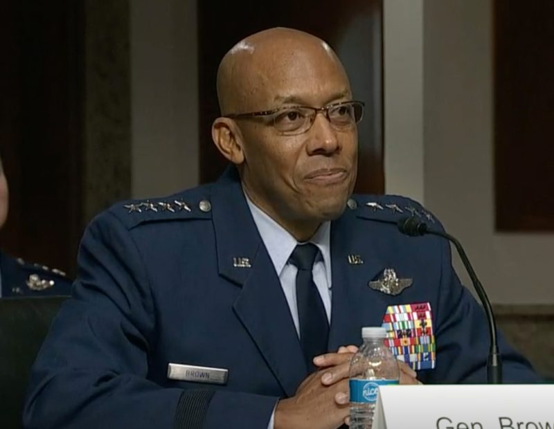 """Gen. Charles """"CQ"""" Brown responds to a question, May 7, 2020 on Capitol Hill, Washington, D.C., during a Senate Armed Services Committee hearing to consider his nomination to be the next Air Force chief of staff. Brown was nominated to become the 22nd chief of staff replacing Gen. David L. Goldfein. (C-Span video capture)"""