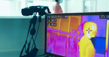 COVID-19 Infrared thermal imaging, scanning for health in office. Image: eucyln