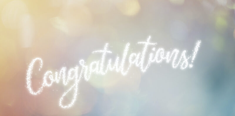 Congratulations Word Formed by Shiny Confetti with Colorful Background. Image: blackred/iStock