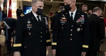 Army Gen. Mark A. Milley, chairman of the Joint Chiefs of Staff speaks with Lt. Gen. Scott D. Berrier, director, Defense Intelligence Agency (DIA)