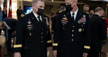 Army Gen. Mark A. Milley, chairman of the Joint Chiefs of Staff speaks with Lt. Gen. Scott D. Berrier, director, Defense Intelligence Agency (DIA)