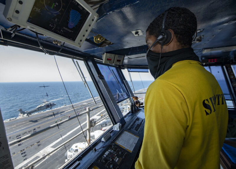 Sailor Directs Helicopter Landing