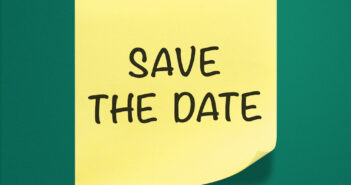 Save the date sticky note on green background.