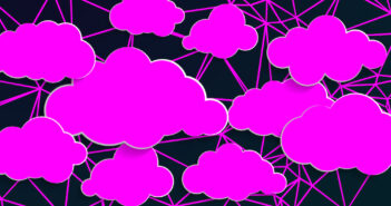retro synthwave abstract pattern with pink clouds design illustration