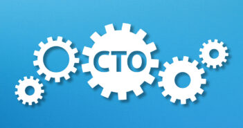 Chief Technology Officer, CTO concept with white gears on blue background