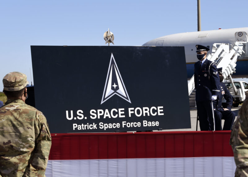 Both of the 45th Space Wing's installations were redesignated as Patrick Space Force Base and Cape Canaveral Space Force Station by Vice President of the United States Mike Pence in a ceremony held Dec. 9, 2020, on Cape Canaveral Space Force Station. The renaming of the two installations is but one more step in solidifying not only the 45th Space Wing and Space Force's hold as the frontrunners in space exploration and defense, but the Nation's as a whole. (U.S. Space Force photo by Senior Airman Zoe Thacker)