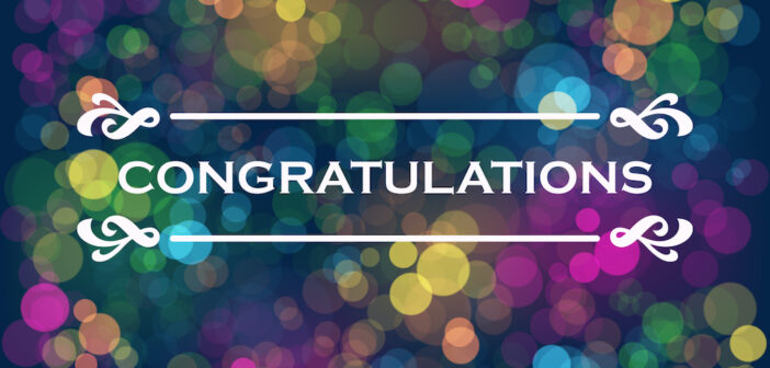 CONGRATULATIONS! vector typography on colorful bokeh light background